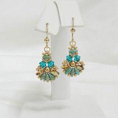 Swarovski earrings,Beaded Swarovski earrings,Beaded earrings,SuperDuo earrings,Clip earrings,Leverback - Fanfare SuperDuo earrings