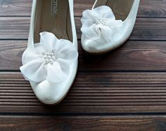 Ivory Chiffon Flowers Shoe Clips by BizimFlowers on Etsy