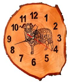 Engraved wood slice clock with Ram Decorative Plates, Trending Outfits, Unique Jewelry, Handmade Gifts, Vintage, Etsy, Kid Craft Gifts, Craft Gifts, Costume Jewelry