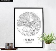 Hamburg Map Print - City Map Art of Hamburg Germany Poster - Coordinates Wall…
