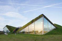 Museo in Olanda con il tetto coperto d'erba su cui passeggiare