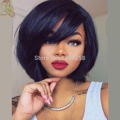 8A 180Density Short Human Hair Wigs With Bangs For Black Women Glueless Bob Full Lace Wigs Brazilian Virgin Hair Lace Front Wigs
