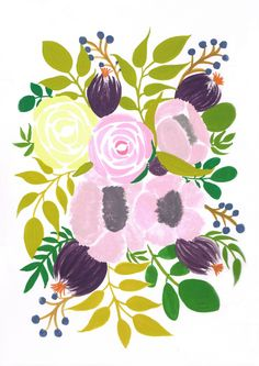Flower bouquet (set of 5) by MEIKOILLUSTRATION on Etsy