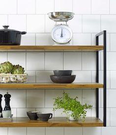 Kitchen Shelf Design, Kitchen Shelves, Kitchen Interior, Kitchen Decor, Farm Kitchen Ideas, Kitchen Built Ins, Basement Kitchen, Loft Furniture, Iron Furniture