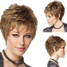 B-G New Fashion Charming Women Hair Wigs Human Hair Wigs Natural Looking Short Curly Wigs for Party, Cosplay, Event + 1 Free Wig Cap Short Curly Wigs, Short Wavy, Short Blonde, Curly Hair Styles, Natural Hair Styles, Wig Styles, Cosplay Hair, Cosplay Wigs, Fashion Styles