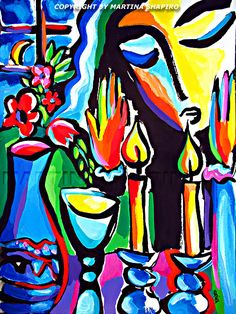 Expression Of Shabbat still life painting, Jewish painting by artist Martina Shapiro, abstract still life, Judaica