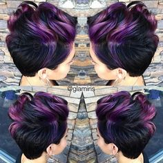 Punky Crop Cut with iridescent purple hair color by Iris Smith aka glamiris ombre HOT Beauty Magazine facebook.com/hotbeautymagazine: