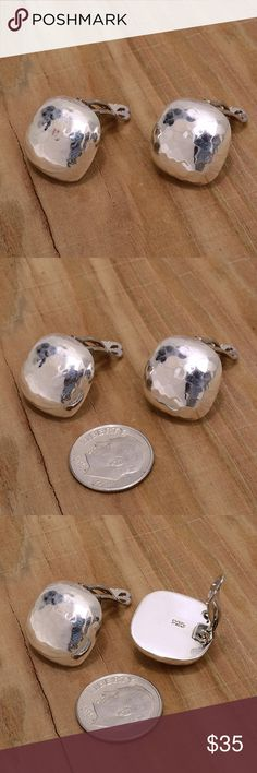 """Sterling Silver Clip On Earrings Stamped """"925"""".   This is not a stock photo. The image is of the actual article that is being sold  Sterling silver is an alloy of silver containing 92.5% by mass of silver and 7.5% by mass of other metals, usually copper. The sterling silver standard has a minimum millesimal fineness of 925.  All my jewelry is solid sterling silver. I do not plate.   Hand crafted in Taxco, Mexico.  Will ship within 2 days of order. Jewelry Earrings"""