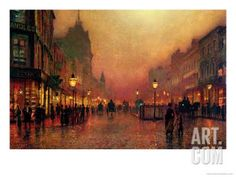 A Street at Night Giclee Print by John Atkinson Grimshaw at Art.com