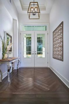 Entry way of the Ashley Model by Arthur Rutenberg Homes. Model is open daily in. Entry way of the Ashley Model by Arthur Rutenberg Homes. Model is open daily in the Concept Homes Wood Floor Design, Wood Floor Pattern, Herringbone Wood Floor, Herringbone Pattern, Tile Design, Home Renovation, Home Remodeling, Arthur Rutenberg Homes, Entryway Flooring