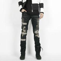 Remember Click Distressed Black Skinny Jeans BLACK S M L Korean Wear #RememberClick #SlimSkinny