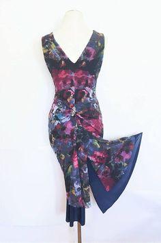 BLUE ROSE  Vintage-Inspired Tango Dress. Summer Floral Dress