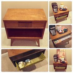 Lil café bar. Nice for guest room or sitting room. Mid Century piece lined with fabric in drawer and used a basket that can be painted too.