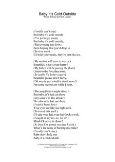 lyrics to baby its cold outside-one of my favorite Christmas songs