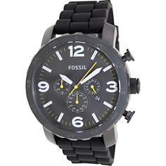 Fossil Men's Nate Black Silicone Quartz Watch - Today's Price $74.99!