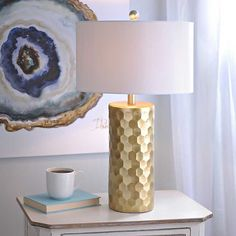 Our Hexagon Metallic Gold Table Lamp brings a chic style to your lighting decor. With a bold, gold body, you'll love the way it shines in any room. Grey And Gold Bedroom, Pink Bedroom Decor, Table Lamps For Bedroom, Gray Bedroom, Silver Table Lamps, Unique Table Lamps, Gold Table, Gold Lamps, White Lamps