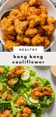 Healthy Bang Bang Cauliflower - Zestful Kitchen Recipes - Crispy baked cauliflower bites dunked in a creamy sweet and spicy sauce—yes, we are talking Bang - Baked Cauliflower Bites, Bang Bang Cauliflower, Tasty Vegetarian Recipes, Vegetable Recipes, Healthy Recipes, Healthy Tips, Paleo, Keto, Healthy Snacks
