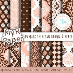"#Damask digital paper: ""PECAN BROWN & PEACH"" digital paper pack with damask backgrounds and #patterns for scrapbooking  50% DI SCONTO PER GLI ORDINI SUPERIORI 12 $ (O QUASI 1... #design #graphic #digitalpaper #scrapbooking #damask #damaskpack"