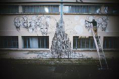 Street Artist Iemza painting at La Fileuse, Reims, France