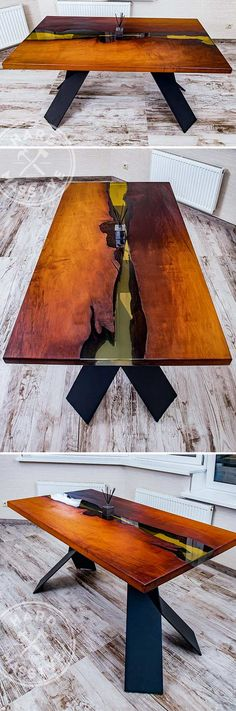 Modern beautiful dining table made of slabs of wood mountain Graben with a natural edge. The polymer fills as an amber-colored River. Original Metal base |