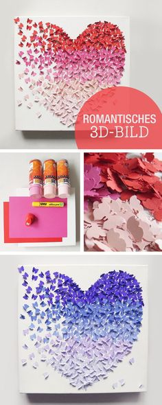 DIY Anleitung für ein romantisches Wandbild, 3D Bild mit Ombre Effekt, Schmetterlinge, Valentinstag / romantic crafting inspiration: 3d picture with ombre effect, butterflies, valentine's day via DaWanda.com