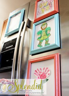 Magnetic frames for artwork. Or, buy a bunch of smaller ones with plastic instead of glass and put photos in them. (like school pictures or Christmas card pictures you want to save)