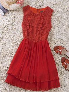 Red Floral Applique Sleeveless Silk Frill Hem Dress