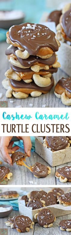 Cashew Caramel Turtle Clusters - give regular turtles a twist by using cashews instead! #recipe