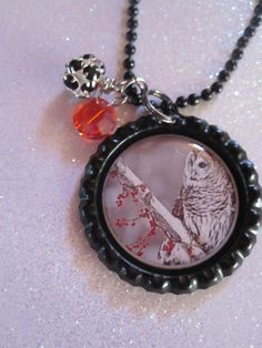 Items similar to Owl bottle cap necklace sitting on branch with red berries on Etsy Handmade Jewelry, Unique Jewelry, Handmade Gifts, Bottle Cap Necklace, Bottle Top, Craft Storage, Display Ideas, Owls, Pocket Watch