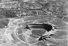 The building of Dodger Stadium.