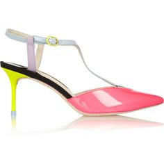 Sophia Webster Ida neon patent-leather T-bar pumps ($390) found on Polyvore
