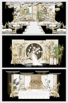 new chinese champagne beautiful ink wedding stage renderings Wedding Backdrop Design, Wedding Stage Design, Reception Backdrop, Wedding Stage Decorations, Backdrop Decorations, Backdrops, Chinese Wedding Decor, Oriental Wedding, Japanese Wedding