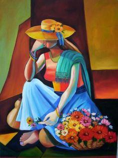 florista 2 (Pintura),  60x80 cm por Regina J Schwingel pintura a óleo, 80X 60CM. RELEITURA DE jURANDI ASSIS