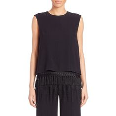 Adam Lippes Fringed Lace Tee ($500) ❤ liked on Polyvore featuring tops, t-shirts, apparel & accessories, black, short sleeve pullover, short sleeve tee, crew neck pullover, lace top and crewneck tee