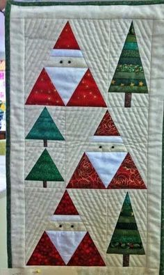 Santa & Christmas Trees Wall Hanging Pattern by BobKat Quilts