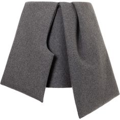 J.W. Anderson Bow Skirt (2,720 MYR) ❤ liked on Polyvore featuring skirts, mini skirts, bottoms, gonne, saias, grey, grey skirt, wool skirt, wool mini skirt and mini skirt