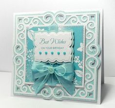 Swirly Frame 7 card. Click on link for free cutting or pdf template. http://www.birdscards.com/2013/01/