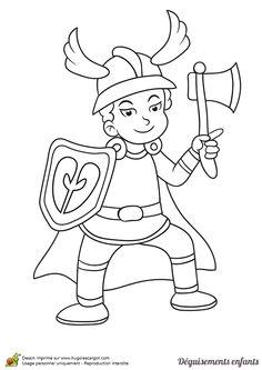 Coloriage et idée de déguisement pour Mardi gras, devenir un chef viking, page 11 sur 24 sur HugoLescargot.com
