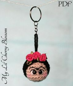(4) Name: 'Crocheting : Frida Kahlo Crochet Keyring (Keychain)