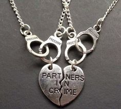 Partners in Crime Cuffs Choker silver tone necklace Necklace for 2 Partners Friendship Short Pendant Necklace - Pendants and Charms Bestfriend Necklaces For 2, Bff Necklaces, Best Friend Necklaces, Best Friend Jewelry, Friend Rings, Couple Necklaces, 14k Gold Initial Necklace, Diamond Cross Necklaces, Pendant Necklace