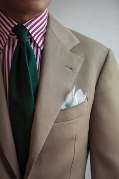 "bntailor: ""Cover coat beige SB suit & Red stripe shirt & Green grenadine tie & New pocket square by B&TAILOR """