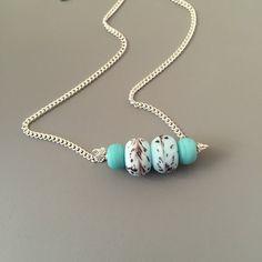 Aqua Necklace  Aqua Pendant Bar Necklace Aqua by SarahSLJewellery