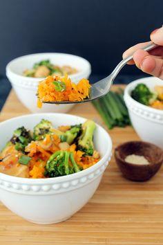 "Teriyaki Chicken and Broccoli with Butternut Squash ""Rice"""