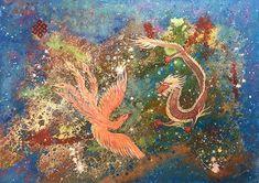 Wieczna miłość Eternal love   2017   140 cm x 100 cm   akryl na płótnie/acrylic on canvas W tradycji chińskiej, Smok i Feniks są symbolami wiecznej miłości. Zgodnie z zasadami Feng Shui, obraz z tymi dwoma mitycznymi istotami, idealnie nadaje się do sypialni, wspiera rozkwit miłości w domu.