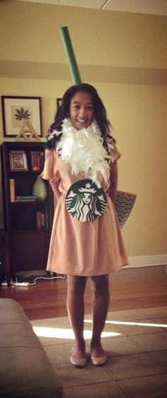 Cool do it yourself ideas for cheap halloween costumes pinterest homemade halloween costume starbucks frappuccino you are so adorable solutioingenieria Choice Image