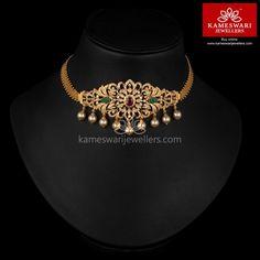 Garden of CZs Bajubandh Cum Choker - Schmuck Design Gold Earrings Designs, Gold Jewellery Design, Necklace Designs, Vanki Designs Jewellery, Handmade Jewellery, Gold Choker Necklace, Diamond Necklaces, Diamond Jewelry, Diamond Choker