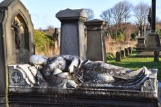 The very striking Barlow Memorial can be found in Bradford's Undercliffe Cemetery. It depicts a reclining mother holding a small baby in her arms. It commemorates Anne Wagstaff Barlow (1834-1867) and her daughter Sarah Elizabeth who survived just a few weeks after her birth in 1859. Some say it illustrates the perils of childbirth in Victorian times.