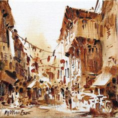 Singapore Chinatown oil painting by Ng Woon Lam nws mfa - Li Fine Art Gallery
