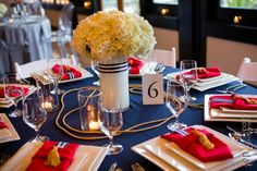 red, white, blue and gold table setting | photo by  Cory Parris