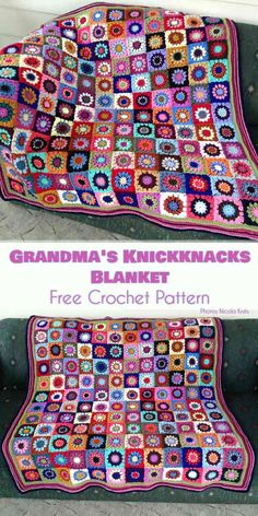 Grandma's Knickknacks Blanket - Free Crochet Pattern - floral square motif #freecrochetpatterns #crochetblanket #summerstyle